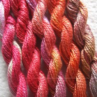 Peach, Mango, Rose, Perle 8, 5 Pack, Yarn, Mixed Media, Textile Art, Fiber Art, Serendipity
