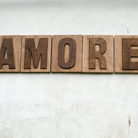 Writing  AMORE (LOVE) separate carved letters letter press style cool decor