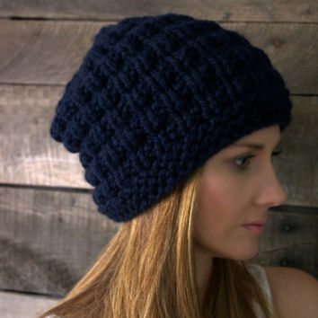 The Delivan in Navy Blue. Slouchy hat. Unisex.