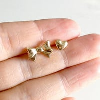 Tiny Bow and Heart Mismatched Earrings