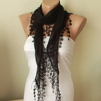 Black Cotton Scarf with Tassel Lace by Periay on Etsy