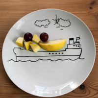 Children's playful boat side plate  SALE by MrTeacup on Etsy