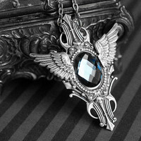 Metallic Flight - art deco winged necklace with grey/blue glass cabochon - antique silver version