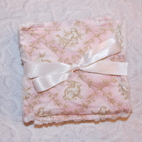 Baby Girl Burp Cloths - Shabby Chic Rag Quilt Style - Pink, Tan, Ivory - Bunnies