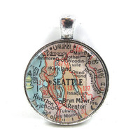 Vintage Map Pendant of Seattle, Washington, in Glass Tile Circle