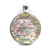 Vintage Map Pendant of Knoxville, Tennessee, in Glass Tile Circle