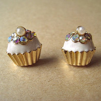 Vanilla CupCake Earrings Studs With Bling by Bitsofbling on Etsy