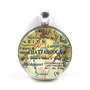 Vintage Map Pendant of Chattanooga, Tennessee, in Glass Tile Circle