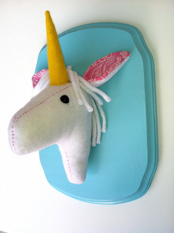$33.00 Unicorn felt taxidermy by squackdoodle on Etsy