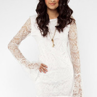 Lana Open Lace Dress in White :: tobi