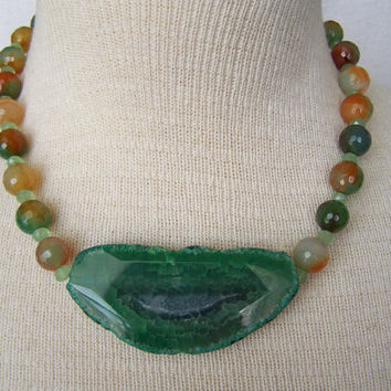 Green Agate Beaded Bohemian Necklace