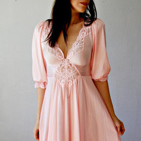 victorian PRINCESS dress /  pink 1970s OPEN by vintagemarmalade