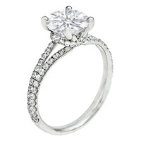 Engagement Ring - Round Diamond Split Band Ribbon Halo Platinum Engagement Ring 0.72 tcw. - ES657PL