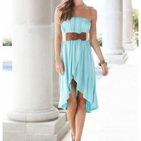 JERSEY HI-LOW WRAPPED TUBE DRESS