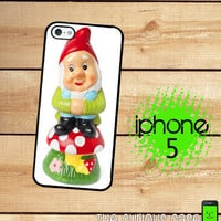 iPhone 5 Case Garden Gnome  / Hard Case For iPhone 5 Plastic or Rubber Trim Gnome on a Mushroom