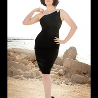 Vivien Dress in Black Bengaline with Rhinestone Shoulder Detail | Pinup Girl Clothing
