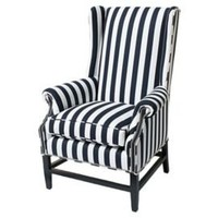 One Kings Lane - Barclay Butera - Grant Wing Chair, Navy/White