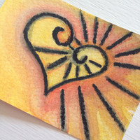 ACEO Original Sunshine Watercolor - With All My Heart Series 12