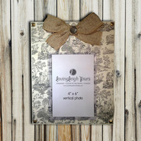 READY TO SHIP - Vintage Frame With Burlap Bow - 8x10 Base with 4x6 Vertical Photo - Wall Decor