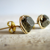 Rough Faceted Pyrite Stud Earrings - Gold Wire Wrapped Nugget Posts