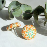 Orange Flower Fabric Button Covered Stud Earrings | Luulla
