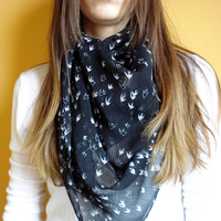 Black Scarf  With Swallows by Nakyhandmade on Etsy