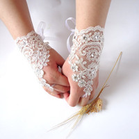 Wedding Gloves Lace Wedding Accessory Bridal accessory by bytugce