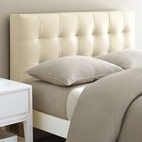 Leather Grid-Tufted Headboard