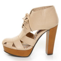 Dollhouse Hedo Natural Cutout Lace-Up Booties - $38.00