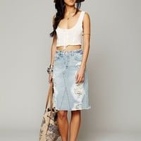 Free People LA Lady Denim Skirt