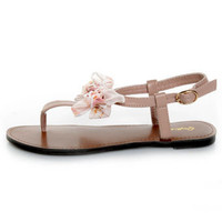 Qupid Athena 431 Blush Bow&#x27;d T Strap Thong Sandals - &amp;#36;22.00
