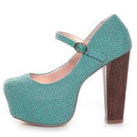 Shoe Republic LA Grand Blue Tweed Mary Jane Platform Heels - &amp;#36;39.00