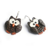 earrings cute brown owl Polymerclay, handmade