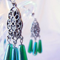 Silver and Green Iridescent Earrings Screwback Clips, St. Patricks Day