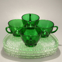 Forest Green Cups Crystal Daisy Button Trays 4 Snack Sets Vtg