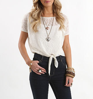 Kirra All Over Crochet Tie Top - PacSun.com