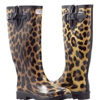Amazon.com: Women&#x27;s Leopard Design Rubber-boots Rainboots Hunting style (5): Shoes