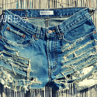 High Waisted Jean Shorts SMALL by UnraveledClothing on Etsy