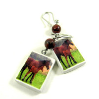 Horse Earrings Horses Photo Polymer Clay by PhotoPerfectJewelry