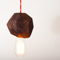 Chunk  Solid Walnut Pendant w/ Edison Bulb by dylangrey on Etsy