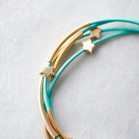Mint Green Leather Bracelet with Mat Golden Small Stars by pardes
