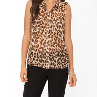Sleeveless Leopard Print Shirt