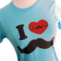 I LOVE MUSTACHE Ladies T-shirt (Available in sizes S, M, L, XL)