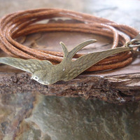 BRONZE SWALLOW wrap bracelet by AsaiBolivien on Etsy