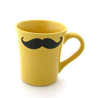 Mustache Mug Moustache Mug Yellow Double Sided Kiln Fired