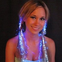 Amazon.com: Starlight Strands Illuminating Fiber Optic Hair Extensions & Rave Toy (Blue): Beauty