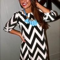 Chevron Shift Dress in Black