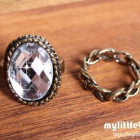 Vintage Sparkle 2 pc Ring