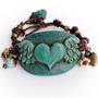 If My Heart Had Wings - Polymer Clay and Knotted Leather Bracelet