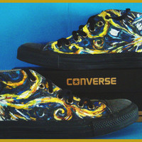 Exploding TARDIS Doctor Who Handpainted Converse Shoes